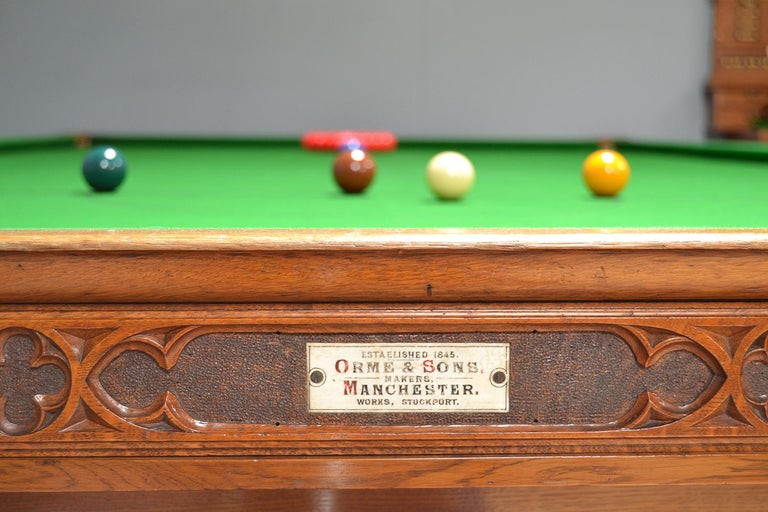 Billiard Snooker Antique Table Gothic Revival Carved Oak Orme Manchester England In Good Condition For Sale In Chilcompton, Radstock