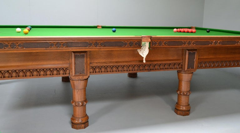 Mid-19th Century Billiard Snooker Antique Table Gothic Revival Carved Oak Orme Manchester England For Sale