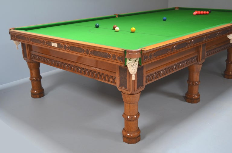 Billiard Snooker Antique Table Gothic Revival Carved Oak Orme Manchester England For Sale 1