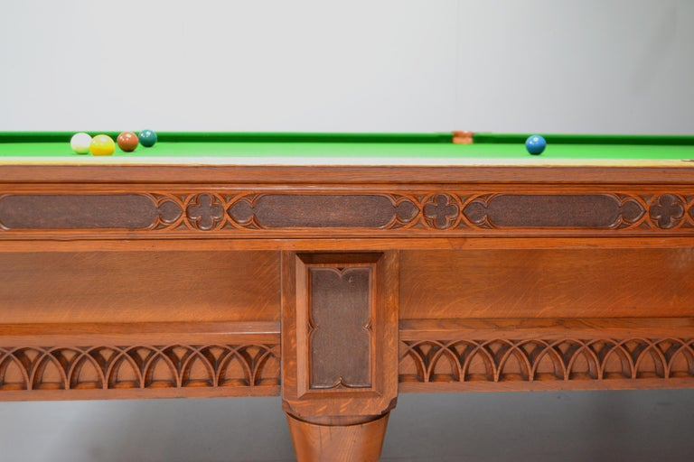 Billiard Snooker Antique Table Gothic Revival Carved Oak Orme Manchester England For Sale 2