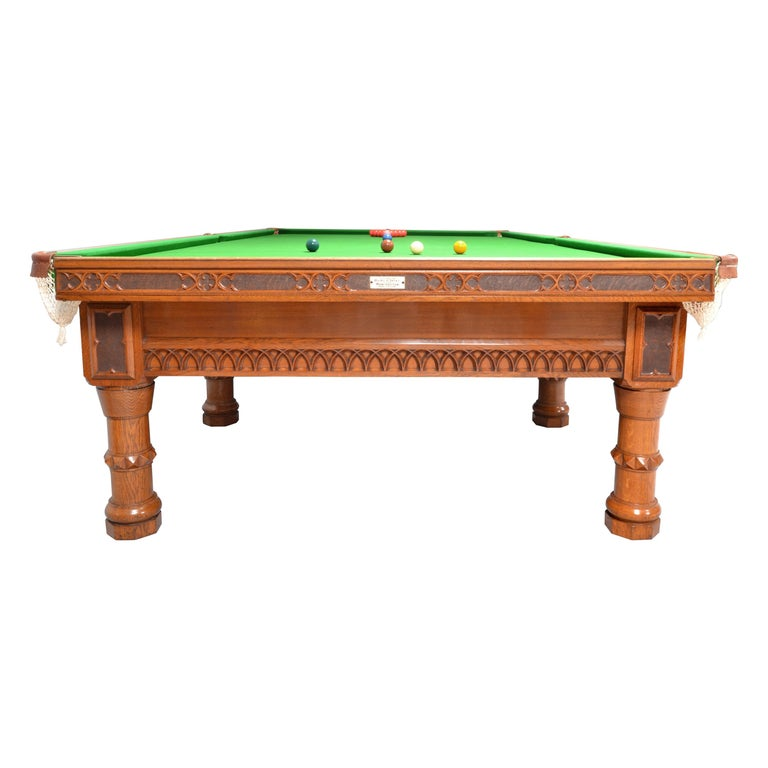 Billiard Snooker Antique Table Gothic Revival Carved Oak Orme Manchester England For Sale