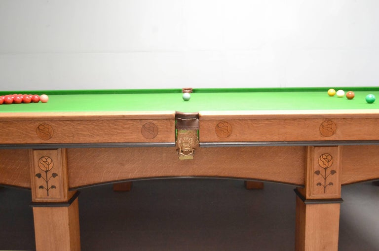 Arts and Crafts Billiard snooker pool table oak inlaid arts and crafts glasgow school scotland For Sale
