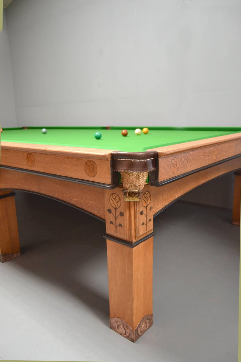British Billiard snooker pool table oak inlaid arts and crafts glasgow school scotland For Sale