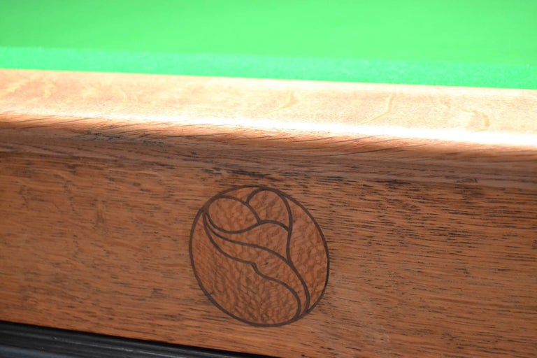 Billiard snooker pool table oak inlaid arts and crafts glasgow school scotland In Good Condition For Sale In Chilcompton, Radstock