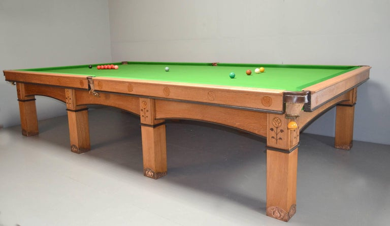 Billiard snooker pool table oak inlaid arts and crafts glasgow school scotland For Sale 1
