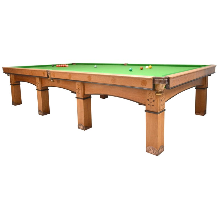 Billiard snooker pool table oak inlaid arts and crafts glasgow school scotland For Sale