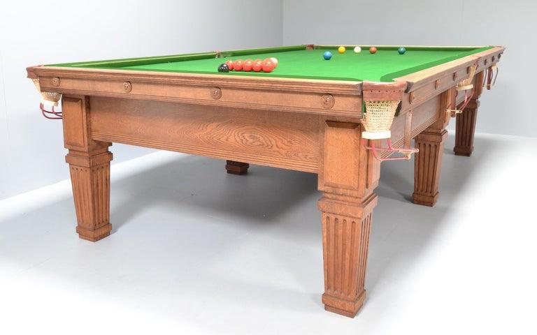 20th Century Billiard Snooker Pool Table Edwardian English Oak For Sale