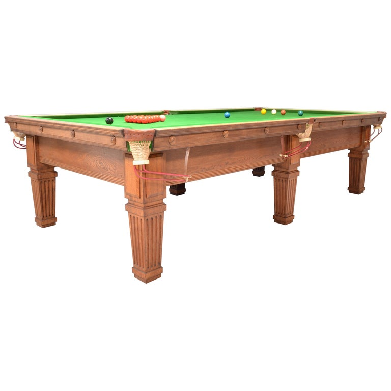 Billiard Snooker Pool Table Edwardian English Oak For Sale