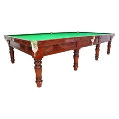 Billiard Snooker Pool Table, Elegant Mahogany, 1850