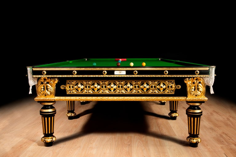 Ebonized  Billiard snooker pool table gilded carved english victorian london 1895  For Sale