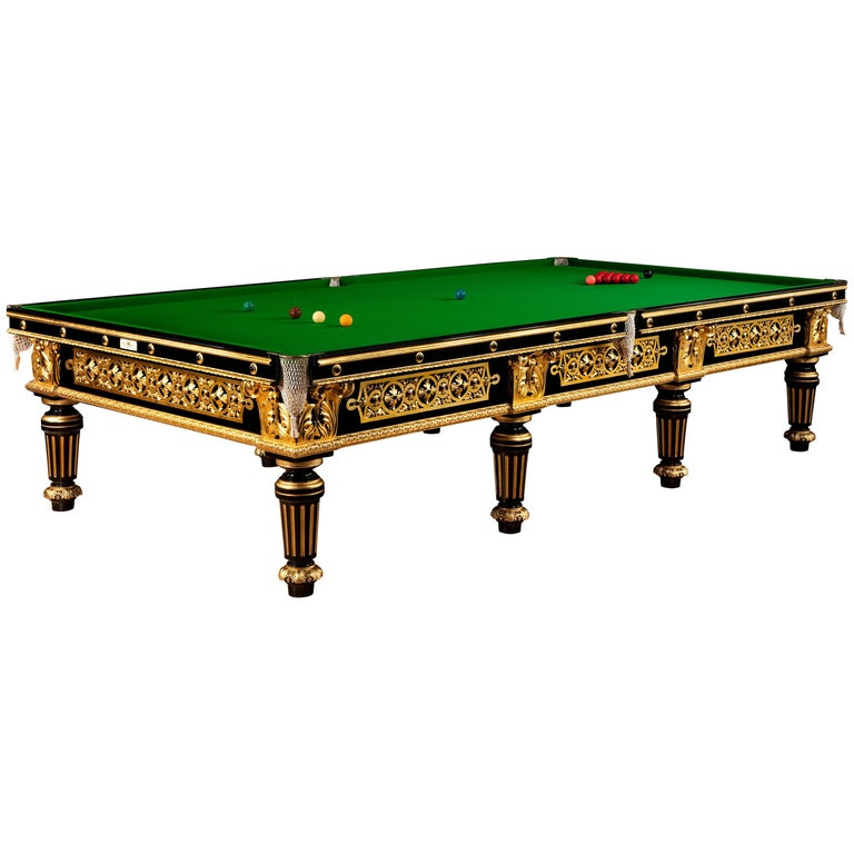 Billiard snooker pool table gilded carved english victorian london 1895  For Sale