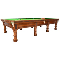 Billiard Snooker Pool Table Gothic Revival Carved Oak Orme Manchester England