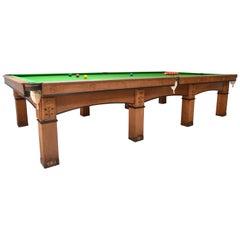Billiard Snooker Pool Table Oak Inlaid Arts & Crafts Glasgow School