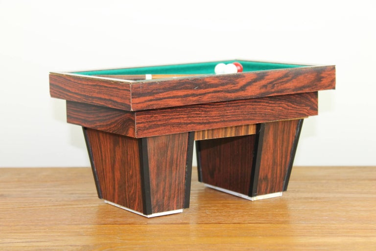 Veneer Billiard Table, Game Table, Miniature Object, 1960s For Sale
