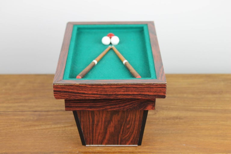 Wood Billiard Table, Game Table, Miniature Object, 1960s For Sale