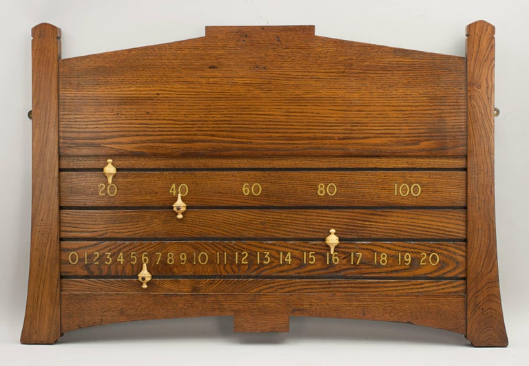 Vintage snooker/billiard score board A good oak billiard scoreboard by Orme & Sons, Manchester. The scoreboard has gold transfer numbers, 20 to 100 in multiples of 20 on the top row and 0 to 20 on the bottom. There are four turned boxwood slides,