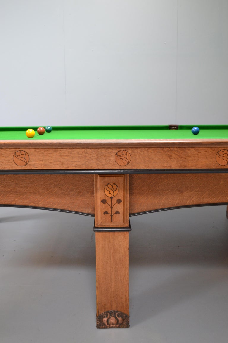 Billiard snooker pool table oak inlaid arts and crafts glasgow school scotland For Sale 3