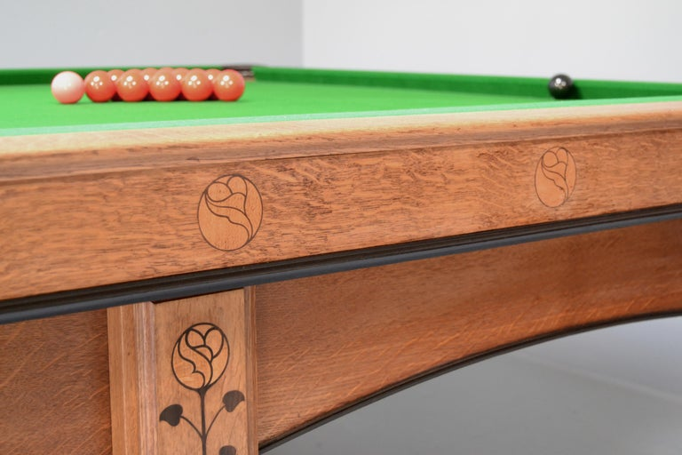 Billiard snooker pool table oak inlaid arts and crafts glasgow school scotland For Sale 4