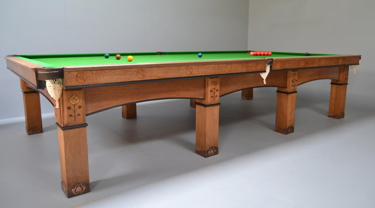 Billiard snooker pool table oak inlaid arts and crafts glasgow school scotland For Sale 5
