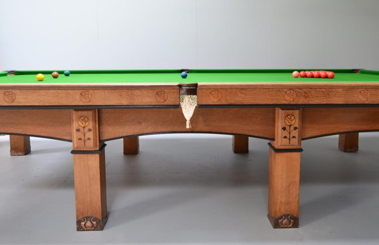 Billiard snooker pool table oak inlaid arts and crafts glasgow school scotland For Sale 6