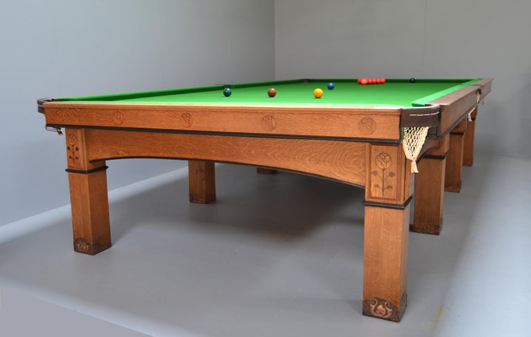 Billiard snooker pool table oak inlaid arts and crafts glasgow school scotland For Sale 2