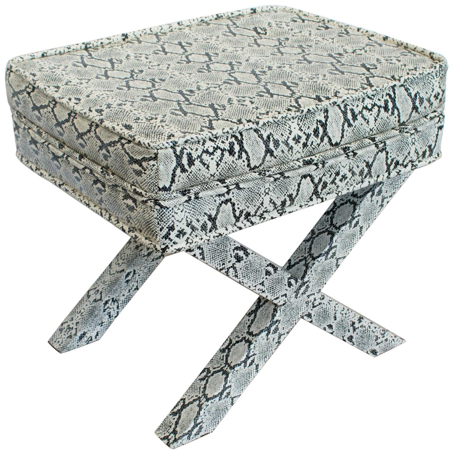 Awesome Billy Baldwin Style Python Leather X Bench Ottoman Footstool Machost Co Dining Chair Design Ideas Machostcouk