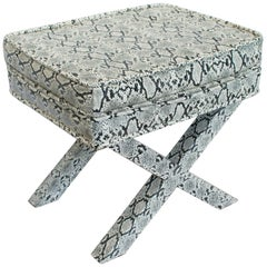 Billy Baldwin Style Python Leather X-Bench Ottoman Footstool