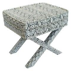 Billy Baldwin Style Python Leather X-Bench Ottoman Footstool