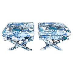 Billy Baldwin Style X Base Benches Stools in Schumacher Blue Chiang Mai Dragon