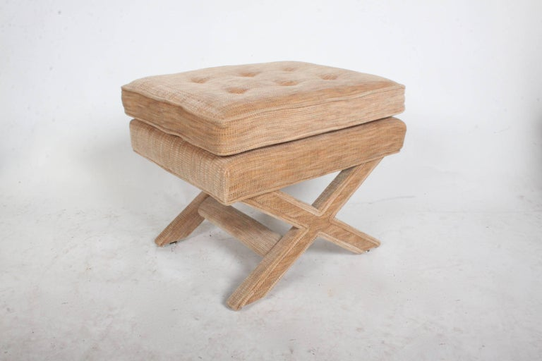 American Billy Baldwin Style X-Base Stool or Ottoman For Sale