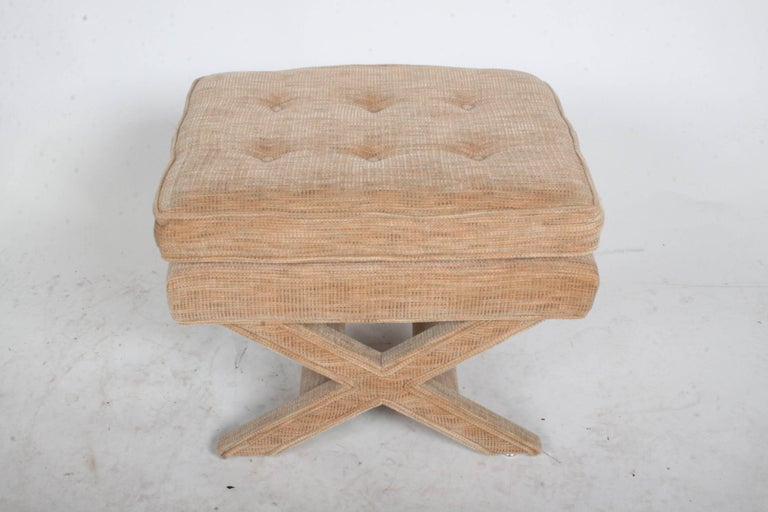 Mid-20th Century Billy Baldwin Style X-Base Stool or Ottoman For Sale
