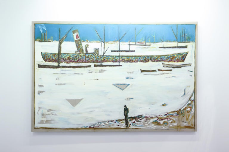 Frozen Estuary - Off Chatham, 1895 (Version Y)  - Painting by Billy Childish