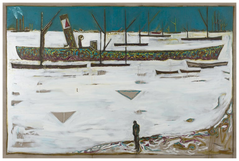 Billy Childish Figurative Painting - Frozen Estuary - Off Chatham, 1895 (Version Y)