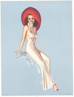 Pin Up Girl with Red Hat, untitled, original pinup vintage poster