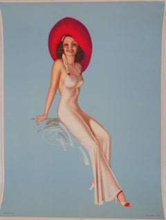 Pin Up with Red Hat - Lithograph