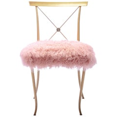 Billy Haines Brass Slipper Chair with Mongolian Sheepskin Fur Upholstery