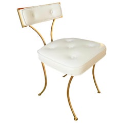 Billy Haines Polished Brass Vanity Chair with Mongolian Lamb
