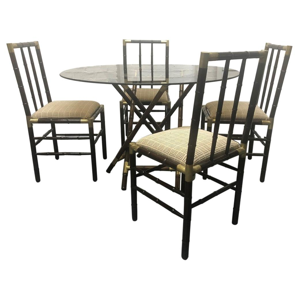 Billy Haines Style Faux Bamboo and Bronze Dining Set