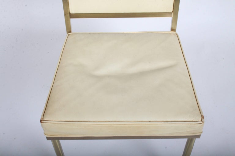 Billy Haines Style Mid-Century Modern Brass Desk Chair For Sale 6