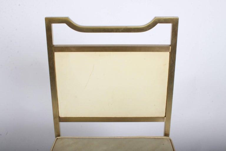 Billy Haines Style Mid-Century Modern Brass Desk Chair For Sale 7