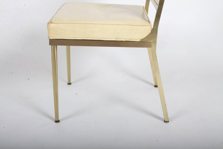 Billy Haines Style Mid-Century Modern Brass Desk Chair In Good Condition For Sale In St. Louis, MO