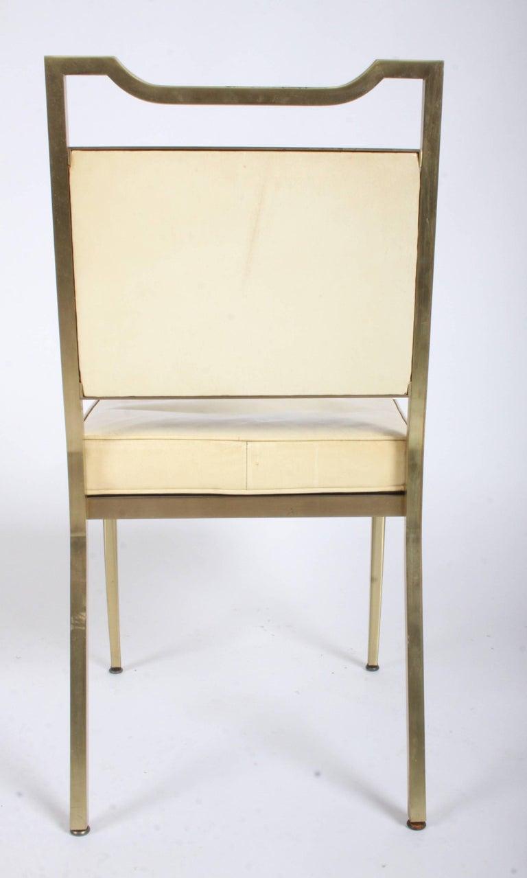 Billy Haines Style Mid-Century Modern Brass Desk Chair For Sale 2