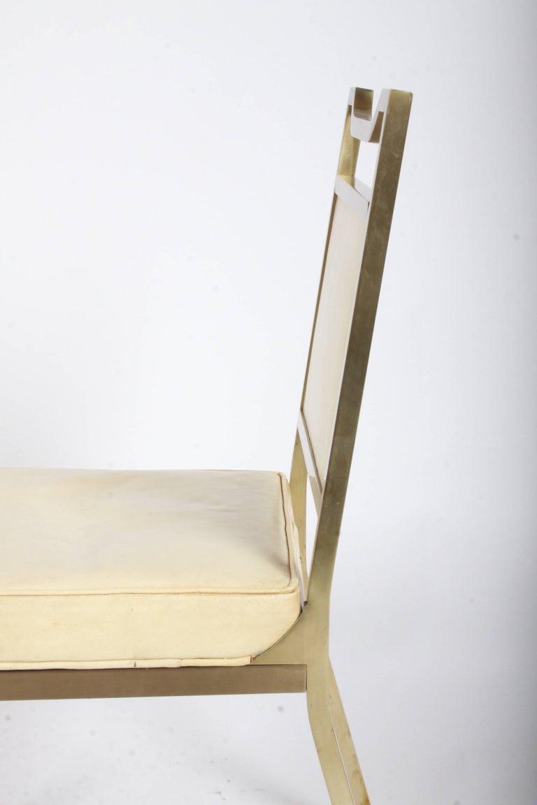 Billy Haines Style Mid-Century Modern Brass Desk Chair For Sale 3