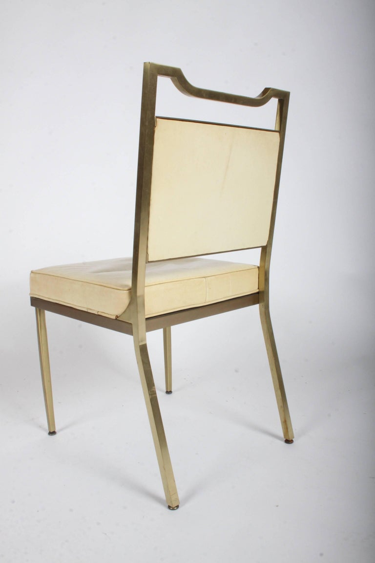 Billy Haines Style Mid-Century Modern Brass Desk Chair For Sale 4