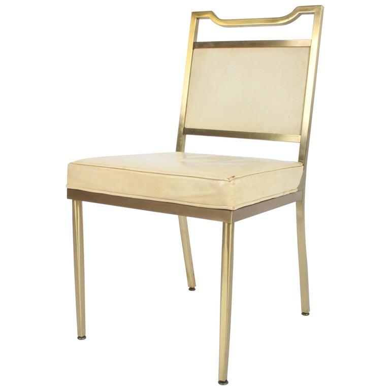 Billy Haines Style Mid-Century Modern Brass Desk Chair For Sale