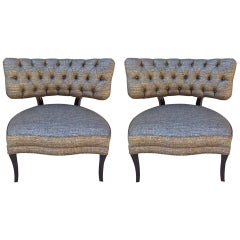Billy Haines Style Tufted Slipper Chairs, Pair