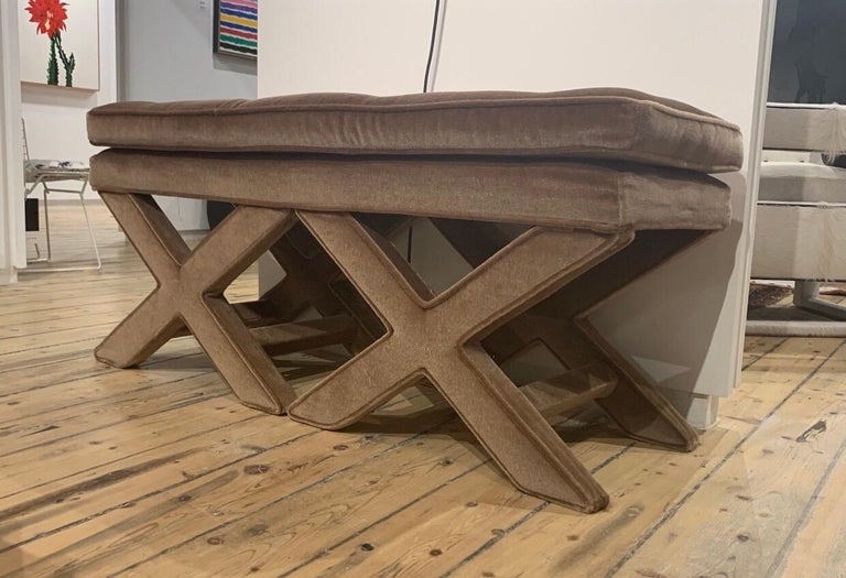 Double X bench by Billy Haynes in original mohair.
