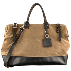 BILLY KIRK Taupe Distressed Canvas & Black Leather Work Bag