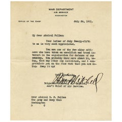 Billy Mitchell Signed Letter to Admiral Fullam, 1921