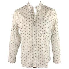 BILLY REID Size XL White Print Cotton Button Down Long Sleeve Shirt